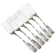 Pomona 6 Luncheon Dessert Forks Set Towle Sterling Silver 1887