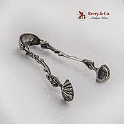 Vintage Sugar Tongs Cast Figural Handles Shell Bowls 800 Silver 1920