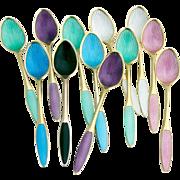 Antoine Michelsen Demitasse Spoons Enamel Gilt Sterling Silver Denmark