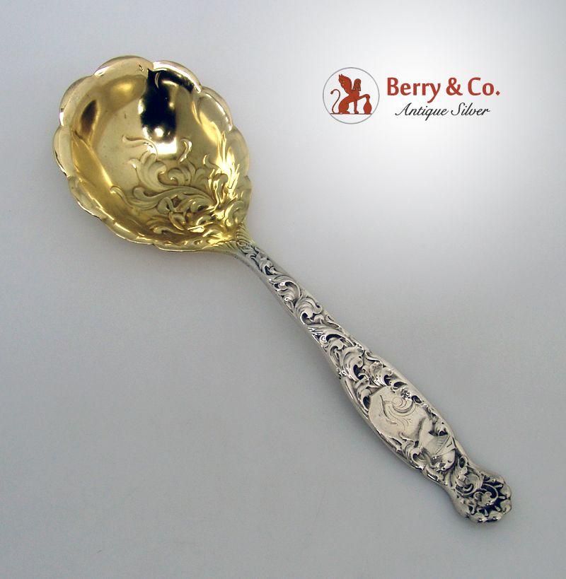 Heraldic Berry Spoon Whiting 1880 Sterling Silver Monogram Y
