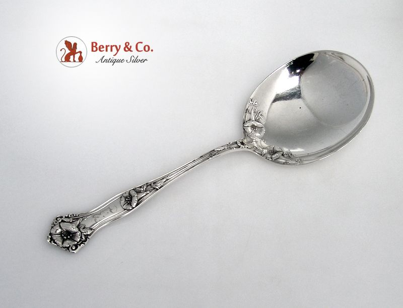 Morning Glory Alvin Salad Serving Spoon Sterling Silver 1909 Monogram R