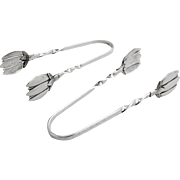 Vintage Sugar Tongs Pair Blossom Bowls Sterling Silver 1950