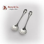 Irene Master Salt Spoons Pair International Sterling Silver 1902