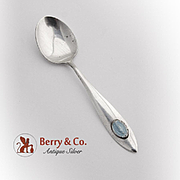 Immaculate Heart Of Mary Baby Spoon Blue Enamel Sterling Silver 1940