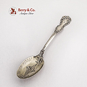 Mount Hood Portland Souvenir Spoon Engraved Bowl Sterling Silver