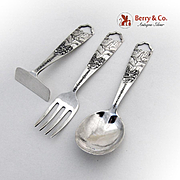 Yosemite Falls Baby Fork Spoon Pusher Set Sterling Silver 1920
