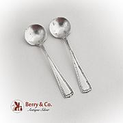 Vintage Salt Spoons Pair Sterling Silver 1940