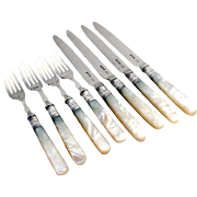 Mother Of Pearl Fruit Forks Knives Set RFM Sterling Silver Sheffield 1908
