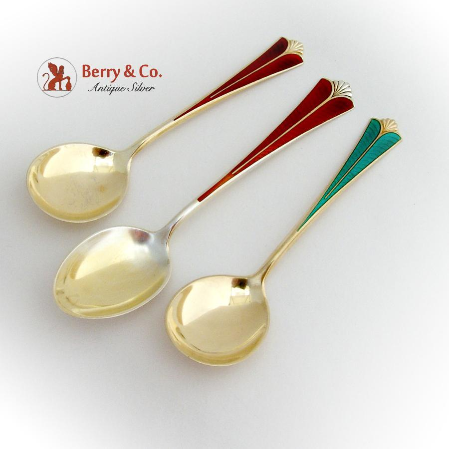 Enameled Gilt Dessert Spoons Teaspoon Set David Andersen ...