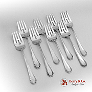 Queen Anne Plain Salad Forks Set Dominick And Haff Sterling Silver Pat 1910