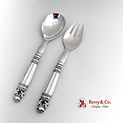 Acorn Salad Serving Set Hollow Handle Georg Jensen Sterling Silver 1930
