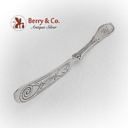 Beaded Engraved Master Butter Knife Twist Handle Coin Silver 1860