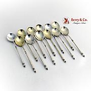 Vintage 12 Spoons Set Engraved Bowl Twist Handle Russian 84 Standard Silver 1883