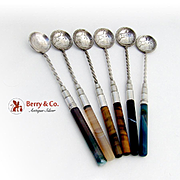 Uruguay Silver Coin Spoons Set Agate Tigers Eye Quartz Twisted Handles