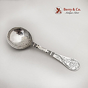 Antique Engraved Serving Spoon Scandinavian Northern German Silver 1790
