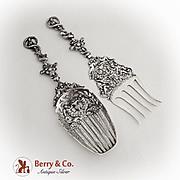 Figural Ornate Large Serving Fork Spoon Set Dutch 833 Standard Silver 1889