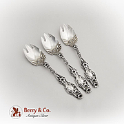 Lily Ice Cream Forks Set Whiting Mfg Co Sterling Silver Pat 1902