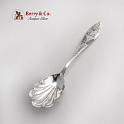 Aesthetic Engraved Sugar Spoon Shell Bowl Monogrammed Sterling Silver 1880