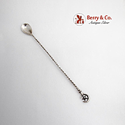 Crescent Moon Star Bar Spoon Twisted Handle 800 Standard Silver