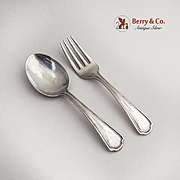 Clovelly Baby Flatware Set Reed And Barton Sterling Silver 1912