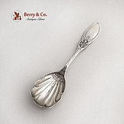 Vintage Sugar Shell Spoon Engraved Bowl Floral Pattern Sterling Silver