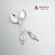 Figural Peacock Coffee Spoons Pair Iwataya Sterling 950 Sterling Silver