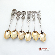 Figural Coffee Spoons Set Gilt Bowls Chinese Export Silver Hung Chong 1920