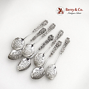 Figural Dogwood Coffee Spoons Set Engraved Bowls Sterling Silver 1950