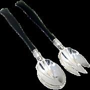 Gorham Salad Serving Set Ebony Wood Handles Sterling Silver 1890