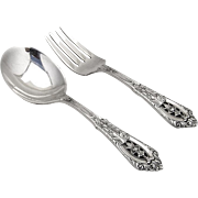Rose Point Baby Fork Knife Set Wallace Sterling Silver 1934