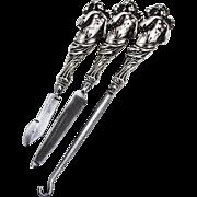 Art Nouveau Button Hook Ink Scraper Nail File Set Polished Steel Sterling Silver 1900