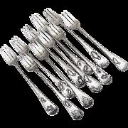 Narragansett Style Cocktail Forks Set Gorham Sterling Silver 1880