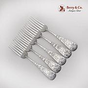 Chrysanthemum Dinner Forks Set Gorham Sterling Silver 1885