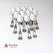 King George Dessert Oval Soup Spoons Set Gorham Sterling Silver 1894