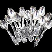 Vintage Souvenir Demitasse Spoons Set Different Makers Sterling Silver