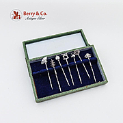 Japanese Figural Cocktail Picks Boxed Set Sterling Silver 1930