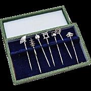 Japanese Figural Cocktail Picks Boxed Set Sterling Silver 1930