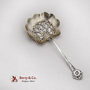 Vintage Floral Bon Bon Spoon Pierced Gilt Bowl Whiting Sterling Silver