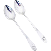 Antique Coffee Spoons Pair Monograms Coin Silver 1800