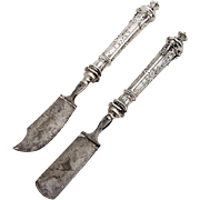 Vintage Ornate Cheese Knife Scoop Set Silver Plated 1890