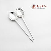 Vintage Large Serving Spoons Pair C J Vander Sterling Silver London 1963