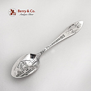 San Francisco Souvenir Spoon Mission Dolores Embossed Bowl Sterling Silver 1915