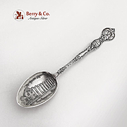 California Souvenir Spoon San Gabriel Mission Embossed Bowl Mayer Bros Sterling Silver