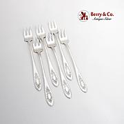 Beverly Cocktail Seafood Forks Set International Sterling Silver 1910