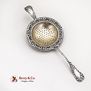 Daisy Pattern Tea Strainer Gilt Bowl Wood And Hughes Sterling Silver 1880