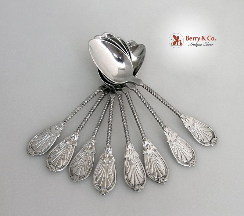 Ornate Twist Handle 10 Teaspoons Coin Silver 1860