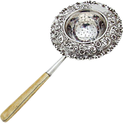Vintage Repousse Floral Tea Strainer Scroll Rim Black Starr And Frost Sterling Silver