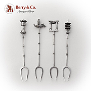 Japanese Cocktail Picks Set Figural Finials Sterling Silver