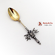 French Castle Battle Ax Souvenir Spoon Gilt Bowl 950 Sterling Silver