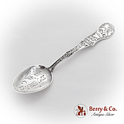 Pueblo Souvenir Spoon Engraved Bowl Decorated Handle Sterling Silver